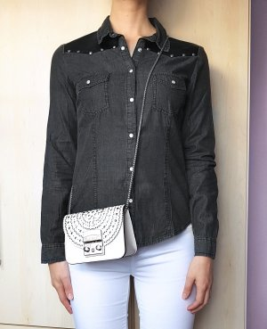 Bluse Hemd Jeans denim Grau Nieten Lederimitat Gr. 38
