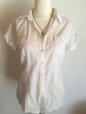 Bluse Hemd Kurzarmbluse Basic weiß leicht Gr. M