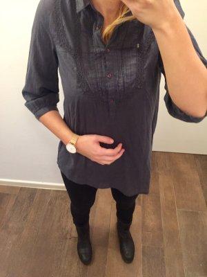 Bluse Hemd lang langärmlig vorne Strick dunkelblau mit Kragen