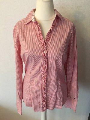 Bluse Hemd langarm hellrot weiß gestreift mit Rüsschen Hilfiger