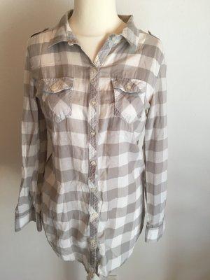 Bluse Hemd langarm locker oversized Basic kariert grau weiß Gr. 36 TOP