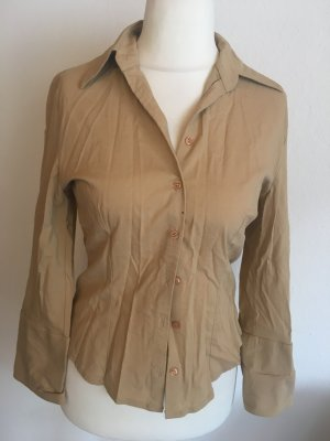 Bluse Hemd Langarmbluse mit Kragen Basic nude beige Gr. 38