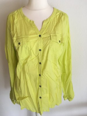 Bluse Hemd Longbluse locker Sommer grün gelb Gr. M