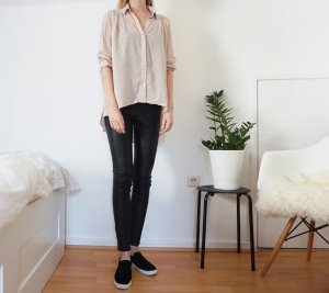 Bluse Hemd Nude Rosa Altrosa Oversized H&M Spitze high low