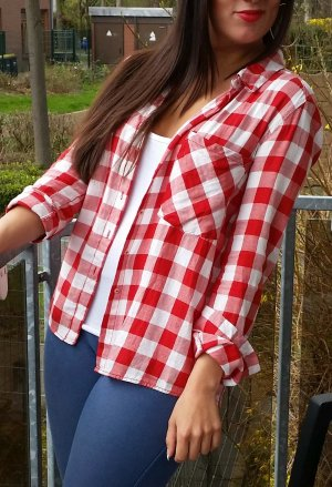 Bluse Hemd Pull & Bear S kariert rot weiß vintage blogger hipster boho