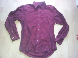 Bluse Hemd rot schimmernd schwarz bügelfrei neuwertig
