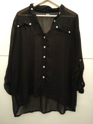 Bluse Hemd schwarz durchsichtig