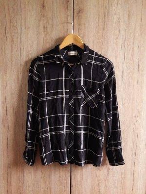 Bershka Camisa de manga larga negro-blanco