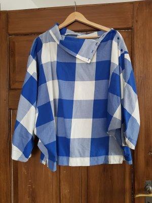 Zara Camisa de un solo hombro blanco-azul