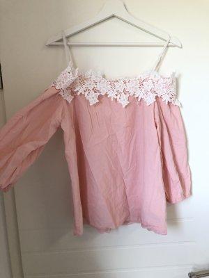 Bluse Hemd Spitzendetail rosa weiß Schulterfrei Off Shoulder