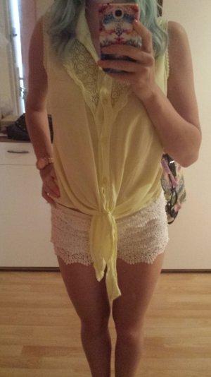 Blouse à manches courtes jaune primevère-jaune citron vert