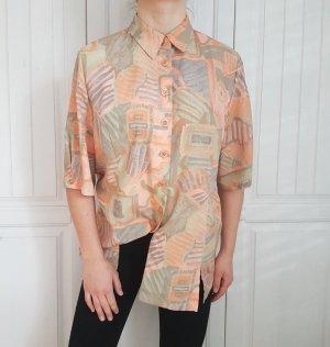Bluse Hemd True Vintage Oversize rose rosa orange nude beige top cardigan pulli