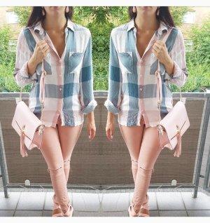 Bluse Hemd türkis rosa weiß nude S 36 blogger hipster boho kariert