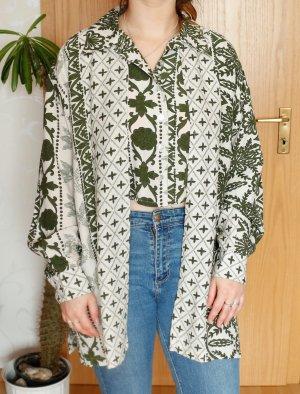 Bluse Hemd Vintage Crop Khaki Weiß