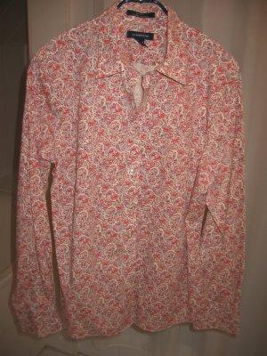 Bluse Hemdbluse Gr. 40 beige rot grau LANDS' END