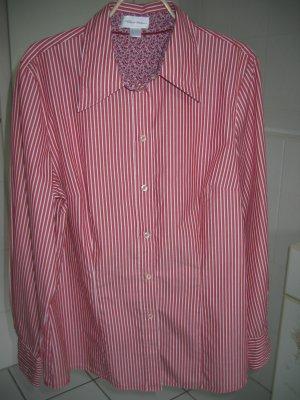 Bluse Hemdbluse Gr. 40 rot weiß gestreift PETER HAHN