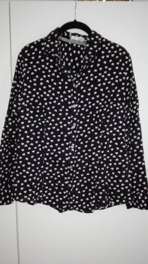 Bluse Herz Print Muster schwarz weiß