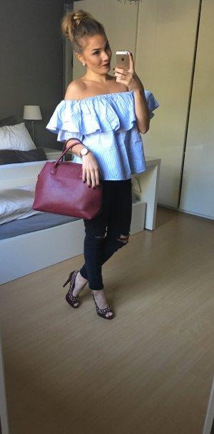 Bluse im Bardotstil hellblau / weiß gestreift
