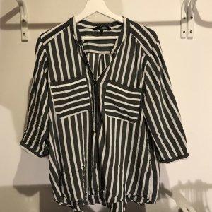 Bluse im modischen Streifen Look - grau-weiß - BLOGGER - XXL