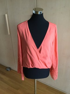 Hennes Collection by H&M Wraparound Blouse salmon viscose