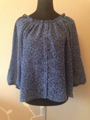 Bluse in blau gemustert