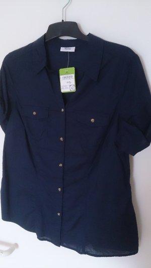 Bluse in dunkelblau mit kurzen Ärmeln