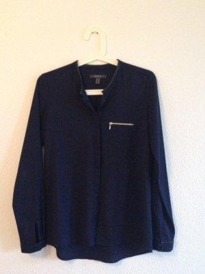 Bluse in dunkelblau mit Lederdetails von Esprit