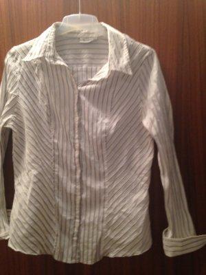 Bluse in grösse 42 Weiss mit Diagonalen silber Streifen
