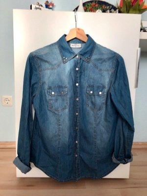 Bluse in Jeans Optik mit Silbernen Details Gina Benotti