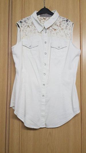 Bluse in Jeansoptik mit Spitze und Zier-Druckknöpfen