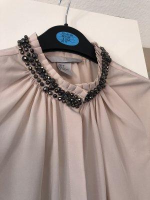 Bluse in nude Gr. 34 xs mit silber Perlen am Kragen, ärmellos