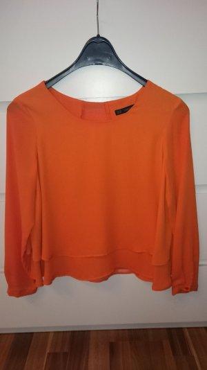 Zara Blusa de manga larga naranja