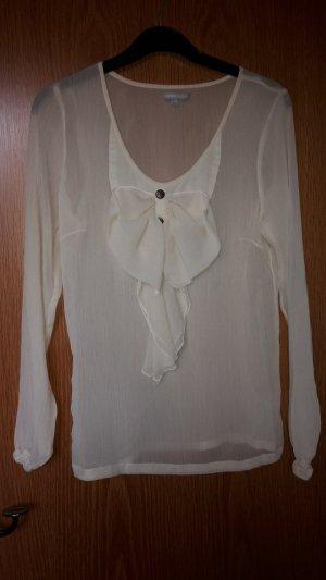 Bluse in S 36 von 3Suisses in creme mit großer Schleife am Ausschnitt