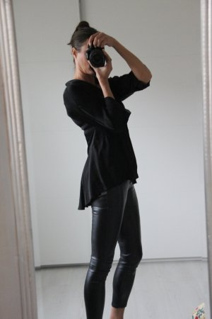Made in Italy Blouse brillante noir viscose