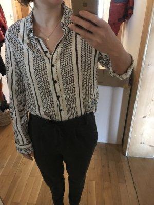 B.young Blusa de manga larga blanco-negro