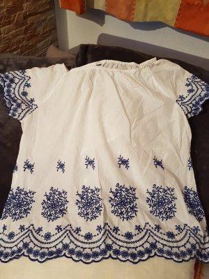 Bluse in weiß # Ibiza Style# reine Baumwolle mit exklusiver Stickerei