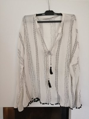 Mango Blusa de túnica blanco-negro
