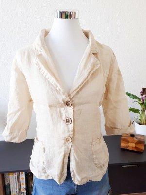 Vintage Blouse en lin beige clair-marron clair lin