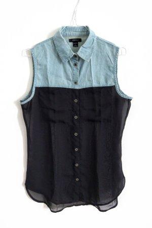 Bluse Jeans schwarz transparent ärmellos Gr M/40
