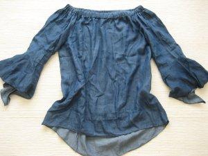 bluse jeansbluse schulterfreu carmen somer neu gr. s 36