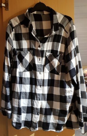 H&M Geruite blouse wit-zwart