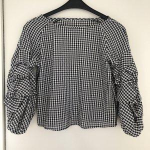 Bluse kariert Puffärmel schwarz weiß Trendpiece