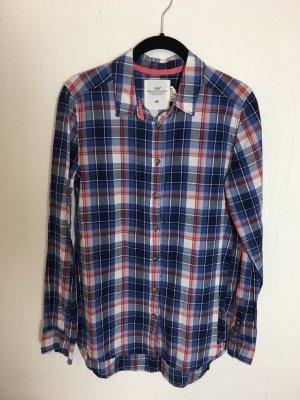 Bluse Karobluse blau rot Gr. 38 H&M