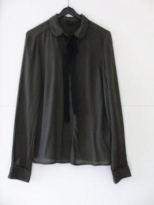 Bluse khaki mit Bubikragen und Schleife