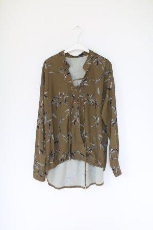 Bluse Khaki von Na-Kd Vintage Look Gr. M/L Tropical