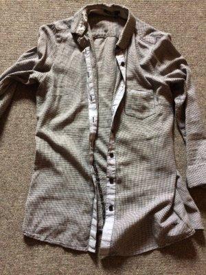 Bluse kleinkariert in Grau/weiß