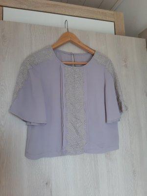 Bluse kurz grau mit Spitze