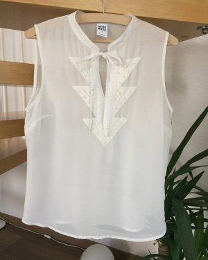 Bluse kurz Tunika ärmellos weiß wollweiß Gr. S / 36 Vero Moda Stickerei Ethno Shirt Top Blusenshirt bestickt Schleife
