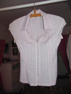 Bluse, kurzärmelig, Pimkie, Gr. XS, mit Kragen, helles Rosa mit grauen Nadelstreifen