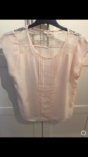 Bluse kurzärmlig weiß rosa
